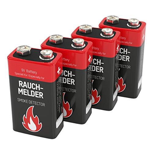 4 ANSMANN Alkaline Rauchmelder Batterien 9V/7 Jahre lagerfähige Brandmelder Batterie/E-Block Premium Qualität für höhere Leistung, Ideal für Feuermelder, Alarmanlagen & Kohlenmonoxid Warnmelder