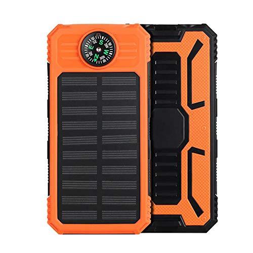 YGRSJ Solar Power Ladegerät, 10000mAH Tragbares Telefon Ladegerät Solar Power Bank Zwei 2.4A Ausgang LED Taschenlampe & SOS Warnlampe für Outdoor-Aktivitäten, Smartphone, Tablet und mehr,Orange