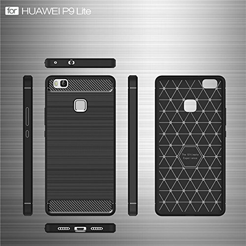 EKINHUI Case Cover Dünn und Leightweight Brushed Carbon Fibre Robuste Rüstung Back Cover Stoßstange Fall Shockproof Drop Resistance Shell Cover für Huawei P9 Lite ( Color : Green ) Red