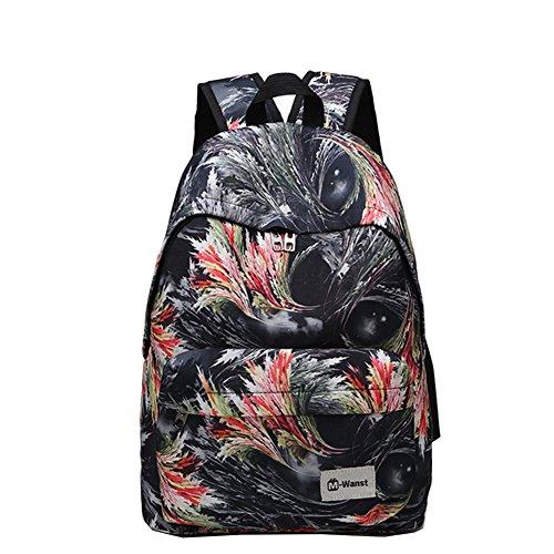 Hualing r¨¦tro ¨¦paules de plumes Sac d'¨¦tudiant Casual Street Hit couleur sac ¨¤ dos sacs ¨¤ main Voyage Noir noir