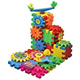 BCMRUN 81 PCS Gear Building Blocks Set Educational Toy Interlocking Learning Blocks Colorful Shapes Puzzle Funny Electric Bricks Motorized Spinning Gears for Children Kids Boys Girls
