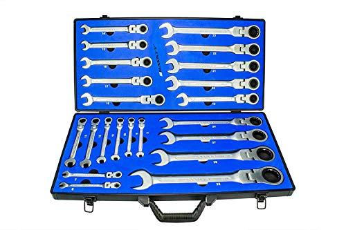 22-Tlg Ratschenschlüssel Ringschlüssel Gelenk-Ratschenschlüssel Set I Ringmaulschlüssel Haskyy Satz 6-32 mm