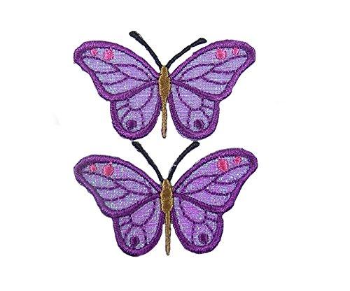 Lila Schmetterlinge gesticktes Eisen auf Applikationen -