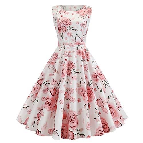 GOKOMO Women Summer Fashion Leisure V-Collar Printed Sleeveless Dresses Damen Kleid Vintage Petticoat Ballkleid ärmelloses Halter Abend Parte Schwingen Kleid(Rosa,X-Large) -