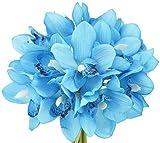 FiveSeasonStuff 12 Tallos de Real Toque Cymbidium Artificial/Barco Orquídeas Flores y Ramo, para Tienda Casa Decoración Restaurante Fiesta Oficina/Arreglos Florales DIY - 23cm (9.1 Inches), Azul