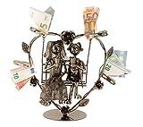 Modernes Metall-Hochzeitspaar auf einer Schaukel für Geldgeschenke Höhe 24 cm Breite 23 cm