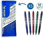 Pilot - Lot de 5 Stylos Roller FriXion Ball Clicker - Stylo Gel Roller Effaçable - 2 Bleus, Noir, Rouge, Vert