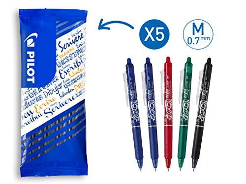 PILOT FriXion Clicker, radierbarer Tintenroller, 5er Set (Blau, Rot, Grün, Schwarz) - Pilot Kugelschreiber Blau