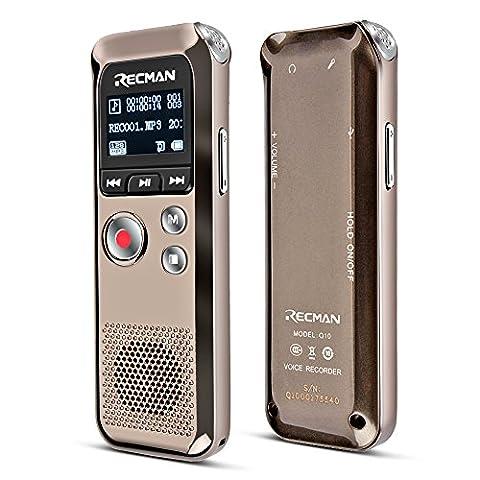 TNP Digital Voice Recorder–Enregistrement de son audio dictaphone intégré à condensateur stéréo Microphones et haut-parleurs avec 8Go de mémoire Mini Portable son, Réunion, interview, salle de classe, Amphithéâtres, lecteur MP3