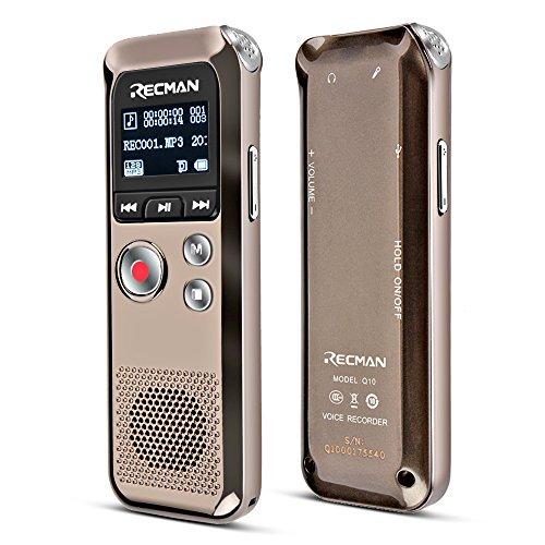 TNP Digital Voice Recorder–Audio Sound Aufnahme Diktiergerät integrierte Kondensator Stereo-Mikrofone und Lautsprecher mit 8GB Speicher Mini Tragbarer Sound, Meeting, Interview, Klassenzimmer, Vorlesung, MP3-Player