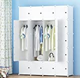 PREMAG Portable Wardrobe for Hanging Clothes, Combination Armoire, Modular Cabinet for Space Saving, Ideal Storage Organizer Cube Closet for books, toys, towels(20-Cube, Extra Stickers Included)