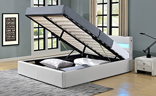 Romero LED Music Bed with Bluetooth - Speakers - Ottoman Gas Lift Storage - Faux Leather - Remote Control LEDs (King Size 5ft, White)
