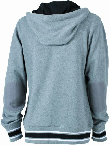 James nicholson sweat-shirt de base-ball &à capuche pour femme Gris (grey-melange/black/white)