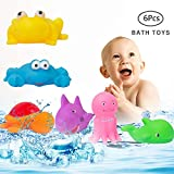 MARKKEER Baby Bath Toys Set,Early Educational Toddlers Toys,Colorful Rubber Animal Bathtub Toys Make Sound for Kids Toddler Baby Boys Girls(6Pcs)