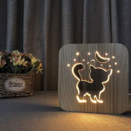 LED-Schreibtischlampe 3D Illusions Lampe Niedliche Katze Form Hölzerne Nachtlicht Bett Licht Augenpflege Arbeitslicht Studieren Lampe Geschenk Für Kinderschlaf Zimmer