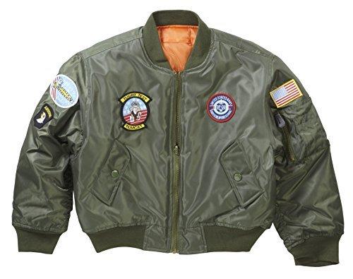 Per bambini e ragazzi MA1Bomber Giacca Da Pilota Con Badge Olive 9-10 Anni - Army Aviator Badge