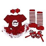 BabyPreg® Baby Mädchen mein erstes Weihnachten Sankt Kostüm-Partei-Kleid 4PCS (S/ 3-6 Monate, Weihnachten Santa)