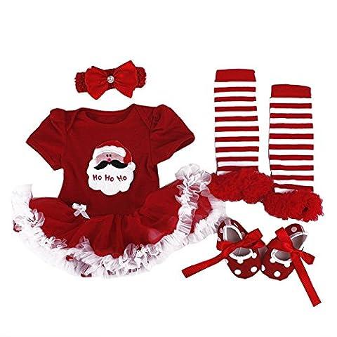 BabyPreg® Baby Mädchen mein erstes Weihnachten Sankt Kostüm-Partei-Kleid 4PCS (XL12-18 Monate, Weihnachten Santa)