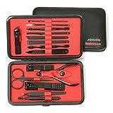 Joycoo, set professionale per manicure e pedicure, set con custodia con, tagliaunghie, forbici, kit per le unghie, set da viaggio Red(15 set)