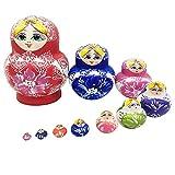 JQJPJOSIE Bambole matrioska di Legno Fatte a Mano Multicolori Tradizionali Bambole Russe di nidificazione da 10 Pezzi