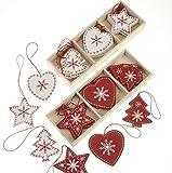 24rosso e bianco albero di Natale, tra cui cuore, albero e design stella. - ogni decorazione circa 5.5cm alto