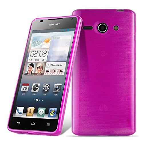 Cadorabo DE-105007 Huawei Ascend G520 / G525 Handyhülle aus TPU Silikon in gebürsteter Edelstahloptik (Brushed) Pink