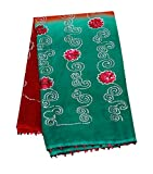 PEEGLI Vintage Bestickt Dupatta Ziegel Rot Blumen Wrap