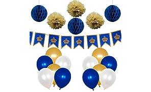 PuTwo Doré Bleu Blanc Ballon 37pcs 12 Pouces Ballon Helium Doré Ballons Bleu Royal Ballon Baudruche Ivoire Ballon Gonflable pour la Décoration de Mariage Or et Bleu Marine inclut Pompons Bannière