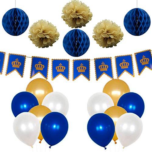 PuTwo Gold Weiß Blau Luftballons 37 Stück Ballon Royalblau Luftballons Gold Luftballons Weiß für Royal Geburtstag Kleine Prinzen Party Latexballons mit Papier Pompoms Girlande - Royalblau, Weiß, Gold (Royal Blau Latex-luftballons)
