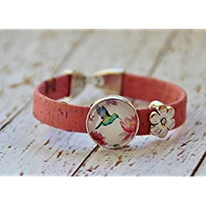 Armband aus Kork Vegan Kolibri rosa Glas