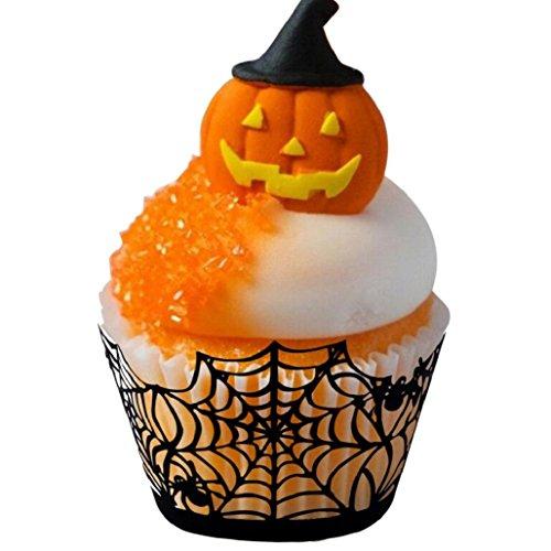 (Wawer 12PCS Hallowen Spitze-Laser-Schnitt-Kuchen-Verpackungs-Zwischenlage-Backen-Schalen-Muffin (Farbe A))