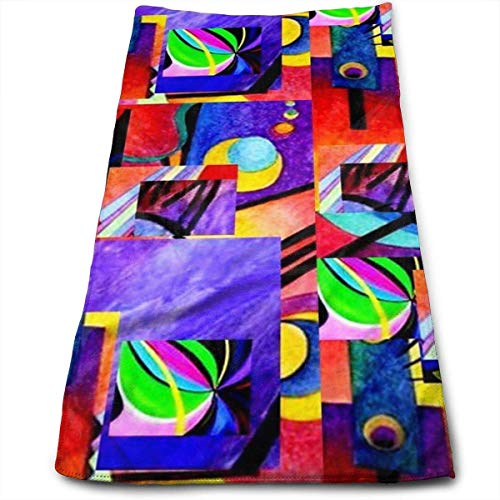 ewtretr Asciugamani Viso-Mani,Purple Kandinsky Collage Multi-Purpose Microfiber Towel Ultra Compact Super Absorbent And Fast Drying Sports Towel Travel Towel Camping, Gym, Swimming