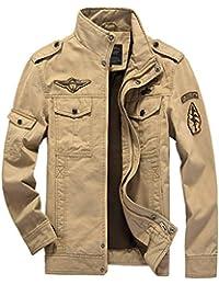 Rene Bella - Chaqueta de hombre para primavera, otoño e invierno, de algodón, diseño de piloto