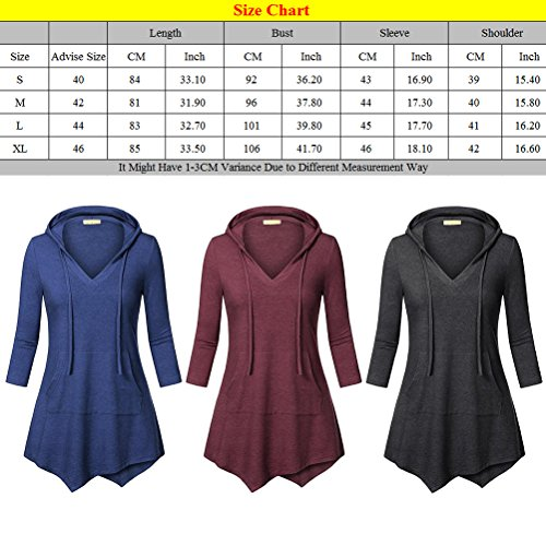 Zhhlaixing Casual Semi-sleeved V-neck Hooded Shirt Dress Drawstring Irregular Ladies Tops Dark Red