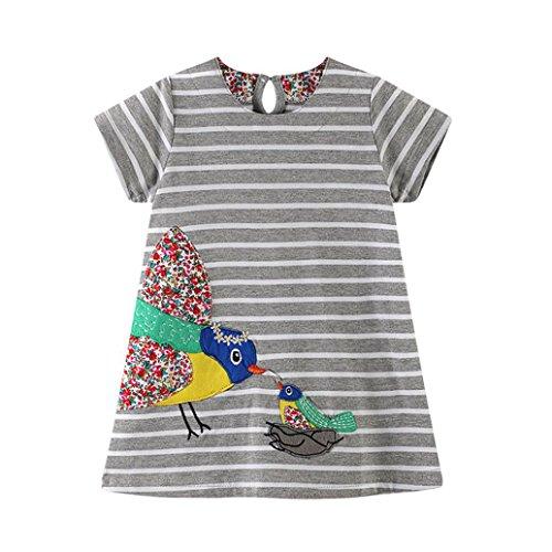 Malloom® Mädchen Birdie Decal Streifen Kleid springen Meter Kleinkind Baby Kid Mädchen Cartoon Vogel Stickerei Kleid Streifen Kleid Outfit Kleidung (80, grau) (Kleinkind Aurora Ballerina Kostüm)