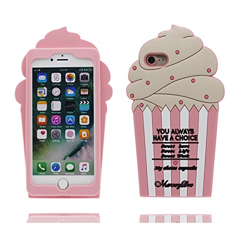 Cover Copertura iPhone 6S, Gel Shell TPU per le ragazze iPhone 6 / 6s Custodia Case 4.7- Lovely 3D Cartoon Gelato Stripe, Shock Anti-Shock Graffi Nero Pink 1