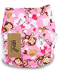 iZiv(TM) Recién Nacido Orgánico con 1 Inserte Grueso Infantil Impermeable/Ajustable/Reutilizable/Lavable Pañal de Tela de Bolsillo aptos Bebés 0-3 años