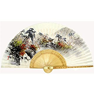 Hand Painted Folding Autumn Scene Painting Korean Mulberry Rice White Paper Bamboo Art Handheld Decorative Fan