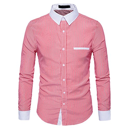 en Lightweight Soft Cotton Long Sleeve Buttons Dress Slim Stripe Shirts Christmas Halloween (Halloween-office, Etc)