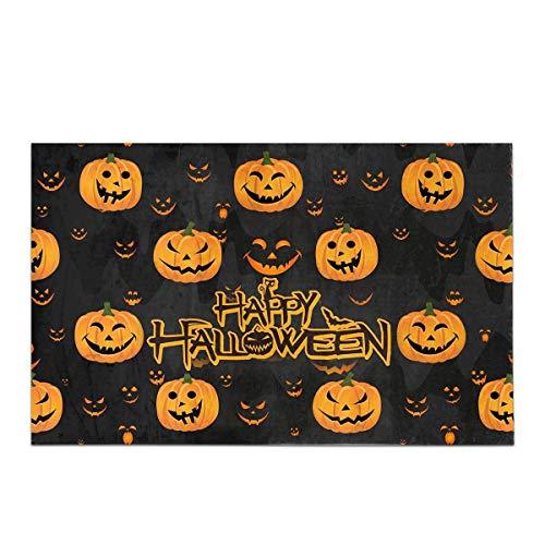 LIS HOME Halloween-Dekor lustige abstrakte Kürbis beängstigend Gesicht Dekor rutschfeste Bad Teppich Set saugfähige Fußmatten für Badezimmer Badewanne Schlafzimmer (Kürbisse Für Beängstigend Halloween-gesichter)