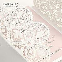 CAMPIONE Partecipazione matrimonio fai da te KIT elegante invito anniversario fidanzamento compleanno DIY bianco e quarzo rosa taglio laser in stile pizzo merletto con nastro