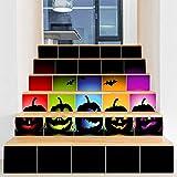 XXBFDT 3D Escalier Autocollants -d'escalier Amovibles -Halloween décorations Maison hantée Mise en Page Horreur fantôme fenêtre fenêtre Porte en Verre Autocollant Mural Autocollant escalier-A6