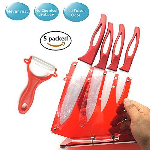 """Keramik Messer Set 5 Stück Küchenmesser Set Super Sharp Schälmesser Rostfreies Chef Messer White Blade Stainproof mit Halter Hülle Abdeckungen (einschließlich 6""""Kochmesser, 5"""" Allzweckmesser, 4 """"Obstm"""