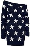 Oops Outlet Womens aus der Schulter Top Damen Sehen Sterne Bardot Strick Übergröße Kleid Pullover - Damen, Marine, 44-46