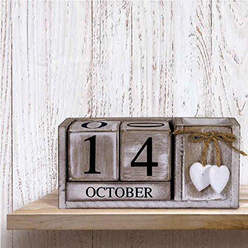 shabby chic rustikal Vintage Retro Holz Immerwährender Kalender Datum Blöcke Herz mit Lager Fach Kiste