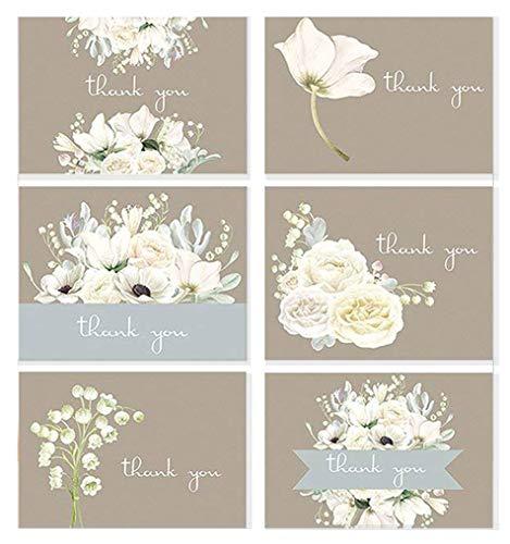 A Paper Smile Hochzeit Thank You Brautschmuck Weiß Florals Sortiment 36Card Box Set, innen blanko, mit Umschlägen-Made in USA (Für Hochzeit Card-boxen)