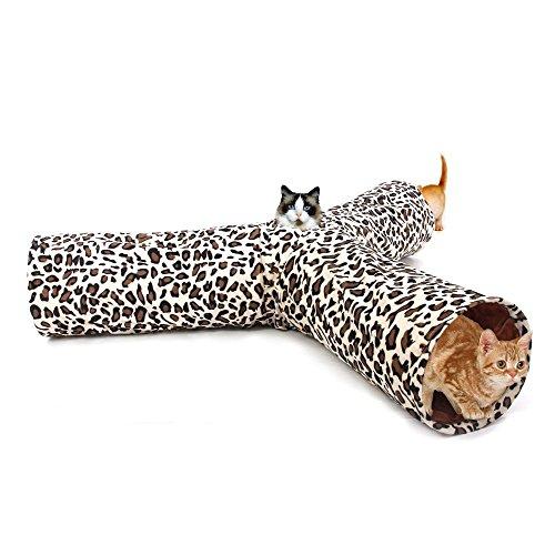 Pawz Road Katzentunnel im Leoparden-Design 3 Wege Faltbar Interaktives Rascheltunnel mit Spielzeug Ball für Katzen Kätzchen Kaninchen Welpen Kleintiere Durchmesser:25cm