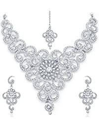 Sukkhi Glittery Rhodium Plated AD Necklace Set For Women