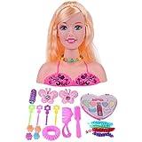 JUNERAIN La Testa del manichino della Bambola di Trucco del Mezzo della Testa di Trucco del Finto Gioca Il Regalo delle Ragazze dei Giocattoli