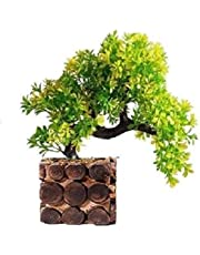 Sofix Bonsai Wild Plant Artificial Plant with Pot - 25 cm (Yellow)